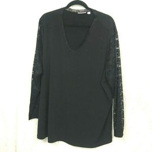 Susan Graver black lace sleeve vneck stretch top 3